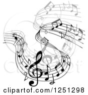 Clipart Of A Grayscale Flowing Music Notes 2 Royalty Free Vector Illustration