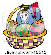 Blue Postal Mailbox Cartoon Character in an Easter Basket Full of Decorated Easter Eggs