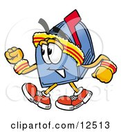 Clipart Picture Of A Blue Postal Mailbox Cartoon Character Speed Walking Or Jogging by Toons4Biz