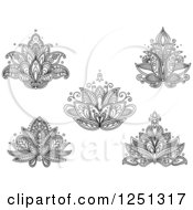 Clipart Of Black And White Henna Flowers 6 Royalty Free Vector Illustration