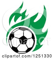 Clipart Of A Soccer Ball And Green Flames Royalty Free Vector Illustration