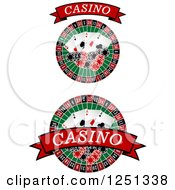 Clipart Of Red Casino Banners With Roulette Wheels Poker Chips And Playing Cards Royalty Free Vector Illustration