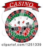 Clipart Of A Red Casino Banner Above A Roulette Wheel Poker Chips And Playing Cards Royalty Free Vector Illustration