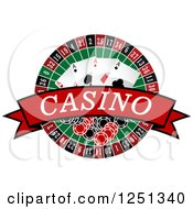 Clipart Of A Red Casino Banner With A Roulette Wheel Poker Chips And Playing Cards Royalty Free Vector Illustration