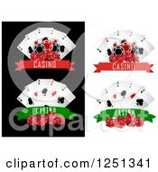 Clipart Of Casino Banners With Dice Poker Chips And Playing Cards Royalty Free Vector Illustration