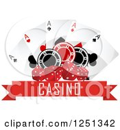 Clipart Of A Red Casino Banner With Dice Poker Chips And Playing Cards Royalty Free Vector Illustration
