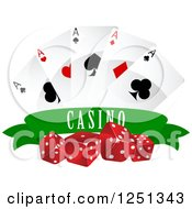 Clipart Of A Green Casino Banner With Dice Poker Chips And Playing Cards Royalty Free Vector Illustration