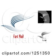Clipart Of Abstract Birds With Fast Mail Text Royalty Free Vector Illustration