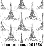 Clipart Of A Seamless Sketched Eiffel Tower Background Pattern Royalty Free Vector Illustration