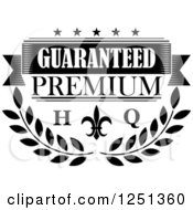 Clipart Of A High Quality Black And White Premium Guarantee Label Royalty Free Vector Illustration