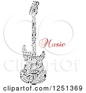 Clipart Of A Guitar Made Of Notes With Music Text Royalty Free Vector Illustration