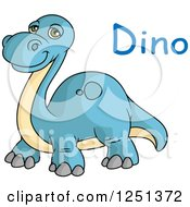 Blue And Tan Dinosaur With Text