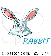 Clipart Of A White Bunny With Rabbit Text Royalty Free Vector Illustration by Vector Tradition SM