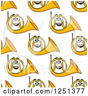 Clipart Of A Seamless Happy French Horn Background Pattern Royalty Free Vector Illustration