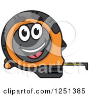 Clipart Of A Happy Orange And Black Tape Measure Royalty Free Vector Illustration