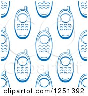 Clipart Of A Seamless Blue Cell Phone Background Pattern Royalty Free Vector Illustration