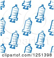 Clipart Of A Seamless Blue Syringe Background Pattern Royalty Free Vector Illustration