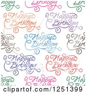 Clipart Of A Seamless Colorful Happy Birthday Background Pattern Royalty Free Vector Illustration