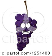 Clipart Of A Bunch Of Purple Grapes Character Royalty Free Vector Illustration