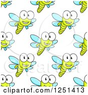Clipart Of A Seamless Happy Dragonfly Background Pattern Royalty Free Vector Illustration by Vector Tradition SM