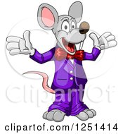 Clipart Of A Happy Mouse In A Purple Suit Royalty Free Vector Illustration