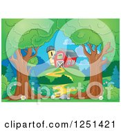 Clipart Of Trees Framing A Path Leading To A Barn And Silo Royalty Free Vector Illustration by visekart