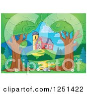 Clipart Of Trees Framing A Path Leading To A Red Barn And Silo Royalty Free Vector Illustration