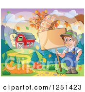 Clipart Of A Male Farmer Holding A Sign By A Barn And Silo With An Autumn Tree Branch Royalty Free Vector Illustration