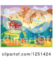Clipart Of A Red Barn And Silo With An Autumn Tree Branch Royalty Free Vector Illustration
