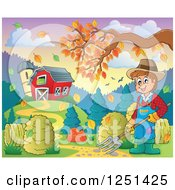 Clipart Of A Male Farmer With A Pitchfork By A Barn And Silo With An Autumn Tree Branch Royalty Free Vector Illustration
