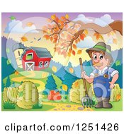 Clipart Of A Male Farmer With A Pitchfork And Hay By A Barn And Silo With An Autumn Tree Branch Royalty Free Vector Illustration