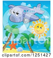 Clipart Of A Happy Cute Airplane And Sun Over A Beach Royalty Free Vector Illustration by visekart