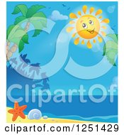 Clipart Of A Happy Sun Over A Tropical Beach Royalty Free Vector Illustration by visekart