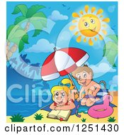 Clipart Of A Happy Sun Over Children On A Tropical Beach Royalty Free Vector Illustration