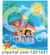 Clipart Of A Happy Sun Over Children Sailing By A Tropical Beach Royalty Free Vector Illustration by visekart