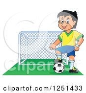 Clipart Of A Presenting Soccer Player Boy By A Goal Royalty Free Vector Illustration