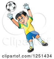 Clipart Of A Soccer Goalie Boy Blocking A Ball Royalty Free Vector Illustration