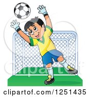 Clipart Of A Soccer Goalie Boy Blocking A Ball In Front Of A Goal Royalty Free Vector Illustration
