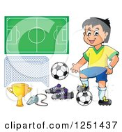 Clipart Of A Presenting Boy Soccer Player And Accessories Royalty Free Vector Illustration by visekart