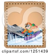 Clipart Of An Aged Parchment Page With A Boy Snowboarding Royalty Free Vector Illustration