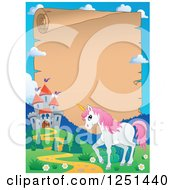 Clipart Of A Parchment Scroll Bordered With A Castle And Unicorn Royalty Free Vector Illustration by visekart