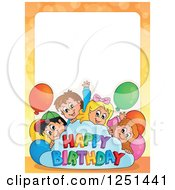 Clipart Of A Border Of Children With A Happy Birthday Cloud And Party Balloons Royalty Free Vector Illustration by visekart