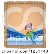 Clipart Of An Aged Parchment Page With A Boy Ice Skating Royalty Free Vector Illustration