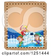 Clipart Of An Aged Parchment Page With Children Building An Igloo Royalty Free Vector Illustration by visekart