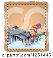 Clipart Of An Aged Parchment Page With Children Sledding Royalty Free Vector Illustration