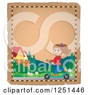 Clipart Of An Aged Parchment Page With A Girl Riding A Scooter Royalty Free Vector Illustration by visekart