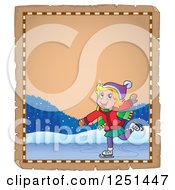 Clipart Of An Aged Parchment Page With A Girl Ice Skating Royalty Free Vector Illustration