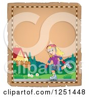 Clipart Of An Aged Parchment Page With A Girl Roller Blading Royalty Free Vector Illustration by visekart