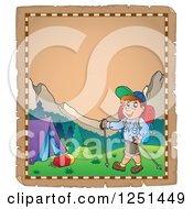 Clipart Of An Aged Parchment Page With A Boy Hiking To A Tent Royalty Free Vector Illustration
