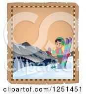 Clipart Of An Aged Parchment Page With A Girl With Skis Royalty Free Vector Illustration by visekart